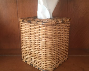 Vintage Wicker and Bamboo Square Tissue Box Cover | Kleenex Box Cover | Tissue Topper