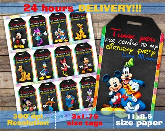 Mickey Mouse Thank You Tags,12 Designs, Mickey Mouse Birthday Favor Tags, Mickey Mouse Party Tags, Mickey Mouse Print Supplies, Mickey Mouse
