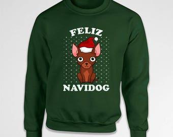 Ugly Christmas Sweater Xmas Sweatshirt Holiday Clothing Xmas Jumper Dog Lover Gifts Chihuaha Sweater Animal Lover X-Mas Hoodie TEP-574