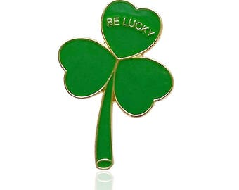 BE LUCKY Gold Plated Irish Shamrock Lapel Pin Badge St Patrick's Day 2018