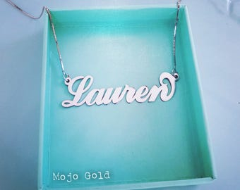 Sterling Silver Large Name Necklace & Chain/Sterling silver Chain/Personalized Large Nameplate/Lauren Necklace/Nameplate/Christmas Gift/XMas