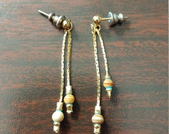 Drop Earrings with Onyx Beads