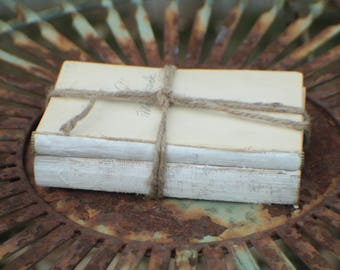 Unbdound Book Mini Centerpiece, Stack of 2 Small Vintage White Unbound Books Wrapped in Twine, Rustic Wedding Centerpiece, White Book Stack