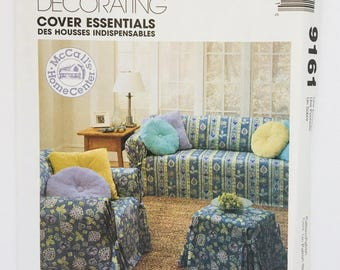 McCalls Home Decorating Pattern 9161 Cover Essentials - Cover sofa, chair, pillows, ottoman Sewing Uncut