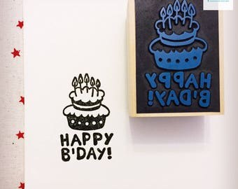 Hand Carved Happy B'Day Rubber Stamp