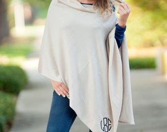 Free Embroidery Monogrammed Creme Chelsea Poncho, Monogrammed Poncho, Personalized Poncho