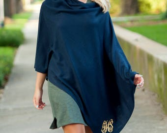 Free Embroidery Monogrammed Navy Chelsea Poncho, Monogrammed Poncho, Personalized Poncho