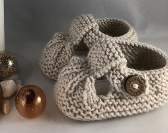 Hand Knitted Baby Shoes- Beige