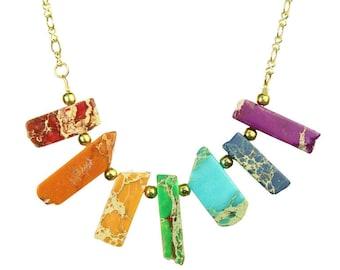 Chakra Jasper Sticks Necklace