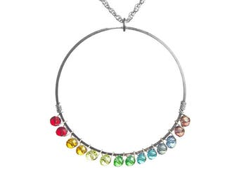 Chakra Crystal Silver Ring Outline Necklace