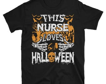 This Nurse Loves Halloween UNISEX T-Shirt Gift for Registered Nurse