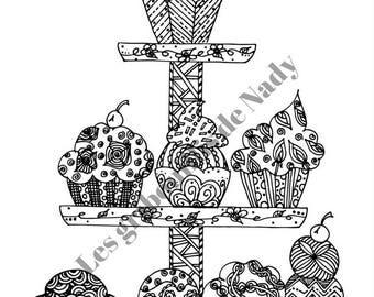 Mandala cupcakes kawaii à colorier et à imprimer vous-même - mandala - zentangle - style kawaii - anti-stress - détente - cupcakes