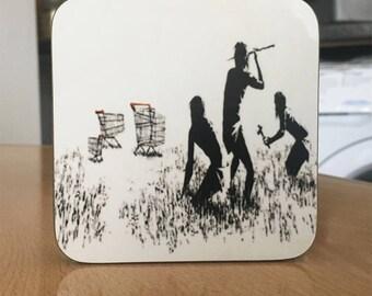 Banksy Coaster #25 - Banksy Gift - Banksy Coaster - Custom Coaster -Gift for Her - Gift For Him - Fridge Magnets - Banksy Magnet - Souvenir