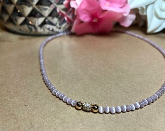 Pink moon stone beaded chocker with paved rhinestone spacer