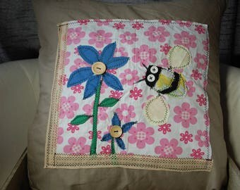 Handmade upcycled Bee & Flowers cushion cover
