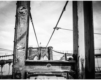 Stickers And Steel - Brooklyn Bridge, New York City, Black and White Fine Art Photography Print