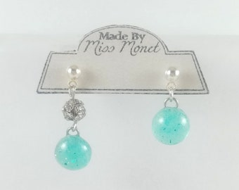 SMALL Fashionably Mismatched Minty Resin Dangle Earrings