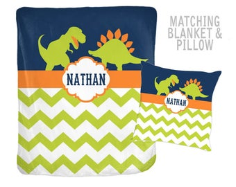 DINOSAUR Blanket Pillow Set, DINOSAUR Decor, Dino Theme Bedding, Personalized Name Blanket, Velveteen Blanket, Baby Boy Shower Gift