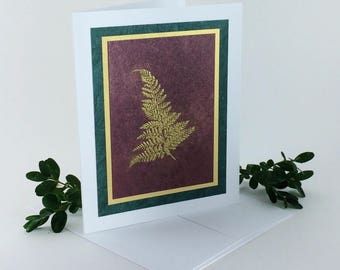 Gold fern on burgundy embossed blank card, individually handmade: A2, notecards, fine cards, SKU BLA21007