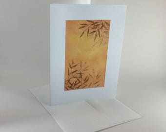 Graceful willow boughs at sunset blank card, individually handmade: A7, notecard, fine card, SKU BLA71021