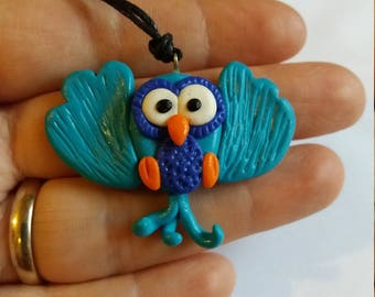 Fimo pendant, owl pendant, owl pendant, Fimo owl, Fimo gufetto, lucky Owl, owl necklace, fimo necklace, Gufetto Pendant