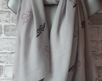 Hand Printed Flowers and Bows Scarf, Sarong, Shawl or Wrap - A Wonderful Gift!