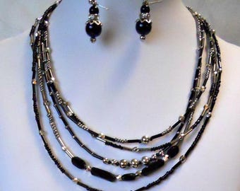 Black and Silver Tube  Multi-chain necklace with free matching bracelet and two paires of free earrings