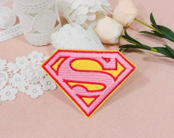 pink superman logo patch/iron on patch/embroidered patch/girl patch/cute patch