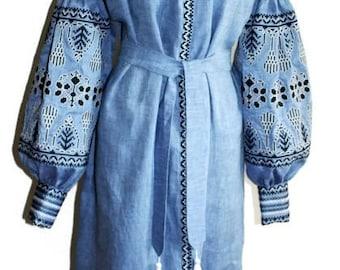 Ukrainian Abaya Long embroidered Dresses Bohemian Clothes Ethnic Ukraine Embroidery Vyshyvanka Dress Custom Boho Clothing Vishivanka Denim