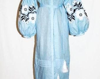 Ukrainian Dress Vyshyvanka Vishivanka Custom Embroidery Boho chic Bohemian Dresses Kaftan Abaya Boho Clothing Ethnic Ukraine Embroider Long