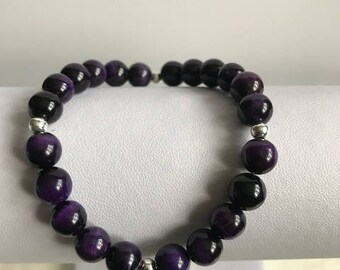 Purple tigers eye beaded bracelet with sterling silvers beads