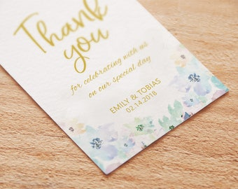 Watercolor Floral & Gold Personalized Wedding Favors Tags Printable - Rectangular, Watercolor thank you tags,Wedding Thank you Tags Template