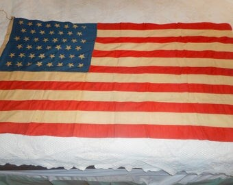 Vintage Antique American 46 Star Flag  a Rare Old Glory