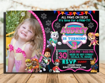 Paw Patrol Invitation Girl, Paw Patrol Birthday Invitation, Paw Patrol Invitation, Paw Patrol Party Invitations, Paw Patrol Birthday Party