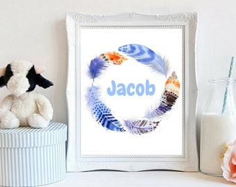 Custom Name Baby Boy Name Beautiful Boho Feather Wreath Nursery Decor Personalized Family Prints Digital Wall Art Baby Shower Gift