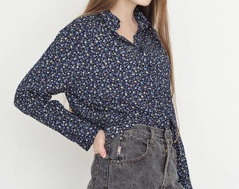 VINTAGE Dark Blue Floral Long Sleeve Retro Shirt