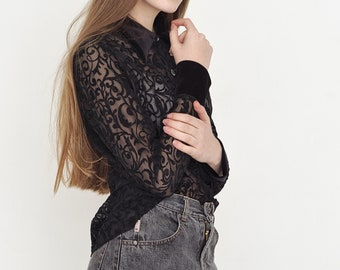 VINTAGE Black Patterned See Through Button Downs Retro Shirt