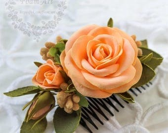 Hair Comb Free Shipping Something Orange Wedding Flower Hair Comb Bridesmaid Headpiece Hair Accessories Prom Hair Comb Roses Comb