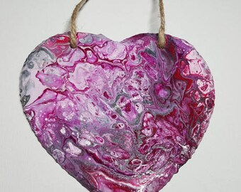 Original acrylic painted slate heart (Pink)