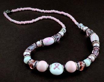 Breast cancer necklace, pink necklace, breast cancer awareness necklace, glass beaded necklace, celebrate your loved one, cancer survivor