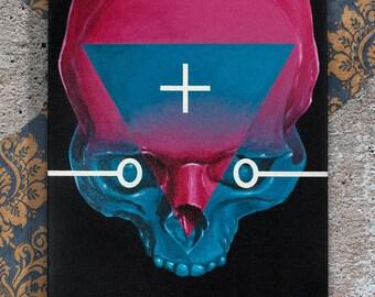 Skull, acrylic, canvas, 20х25 cm.
