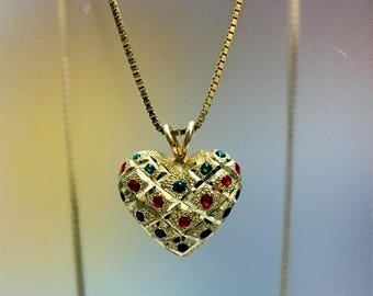 14ct Yellow Gold Multistone CZ Necklace