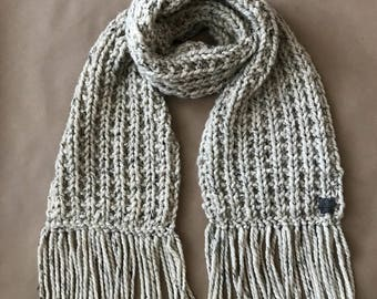 Chunky Hand Knitted Wool Scarf with Fringe