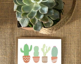 Cacti card, Cactus cards, Cactus cards set, Cute notecard set, Cactus stationery
