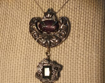 Burma star ruby, colombian emerald necklace pendant