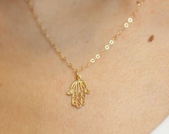 filigree hamsa necklace, Hamsa charm, Gold Hamsa Necklace, Protection Necklace, Minimalist, Bat Mitzvah gift, charm necklace, kabbalah, luck