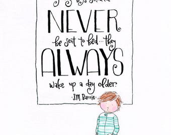 Never Grow Up - Giclée Watercolor Print for Children's Bedroom Decor