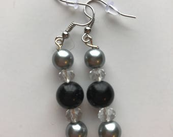Black and Silver Beaded Drop Earrings, Black Silver Beaded Earrings, Black Silver Drop Earrings, Silver Black Earrings, Black Silver Earring