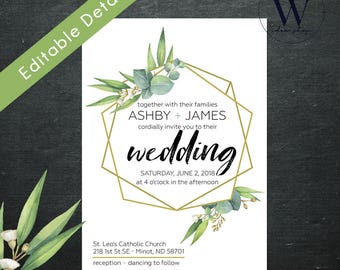 Eucalyptus Greenery Wedding Invitation Template, Eucalyptus Wedding Invitation Template, Green Eucalyptus Leaves Wedding Invitation Set