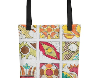 Cochiti Pattern - Amazingly beautiful full color tote bag with black handle featuring children's donated artwork.